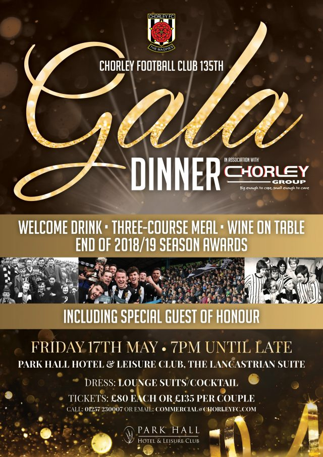 Gala Dinner in association with The Chorley Group